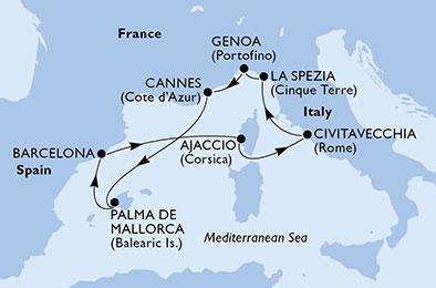 Merveilleuse Méditerranée en 8 Jours au départ de Gênes à bord du MSC Opera